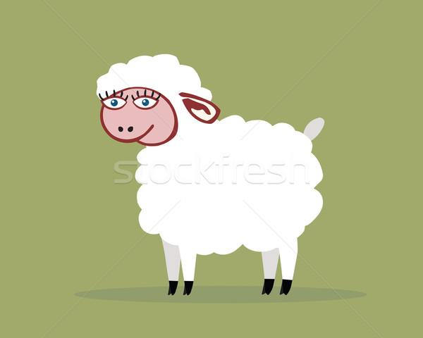 овец белый улыбаясь фермы рисунок Cartoon Сток-фото © my-photomir