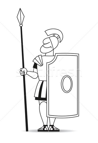 древних щит воин броня человека счастливым Сток-фото © my-photomir