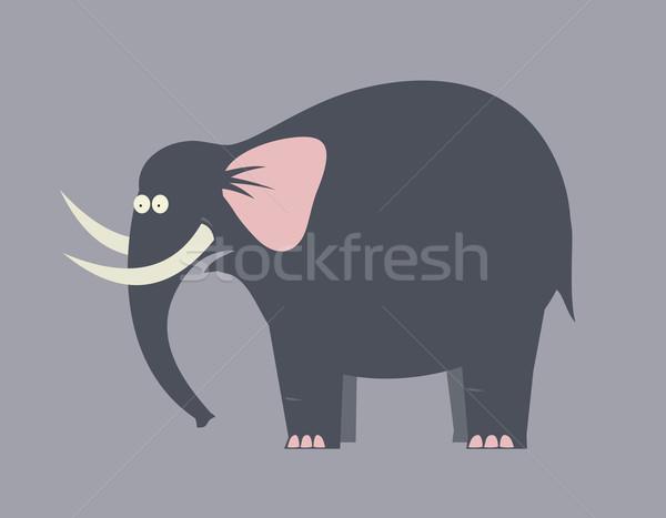 удивленный слон большой черный животного рисунок Сток-фото © my-photomir