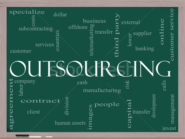 Outsourcing word cloud on blackboard Stock photo © mybaitshop