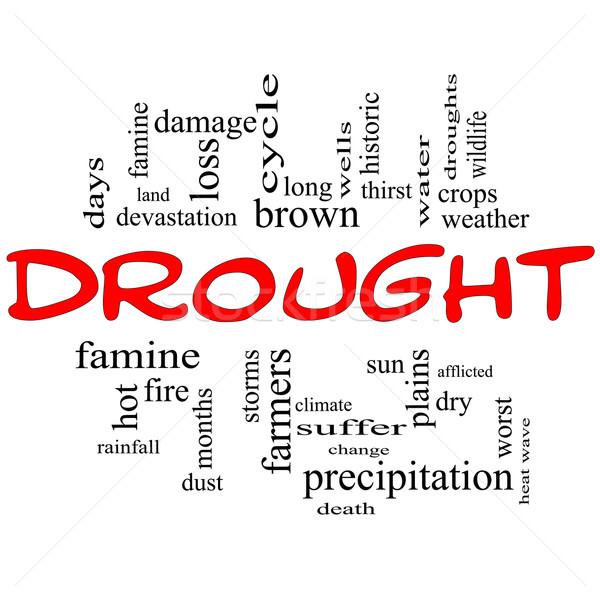 Seca nuvem da palavra vermelho preto agricultores Foto stock © mybaitshop