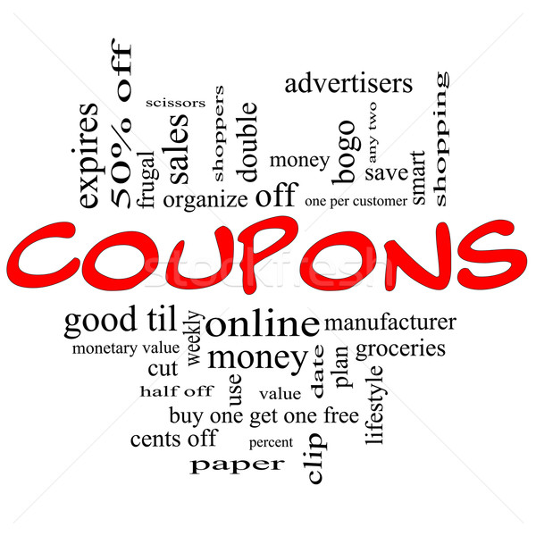 Coupons Word Cloud Concept in red & black Stock photo © mybaitshop