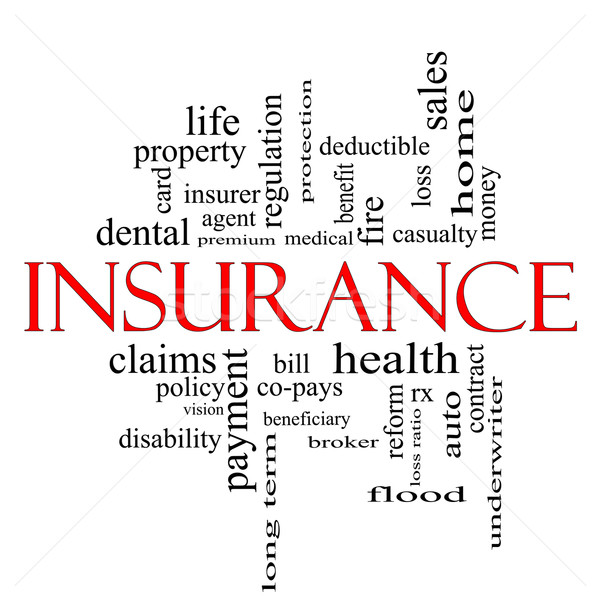 Insurance Word Cloud Concept in red and black Stock photo © mybaitshop
