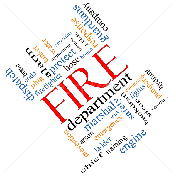 Fire Department Word Cloud Concept Angled Stock photo © mybaitshop