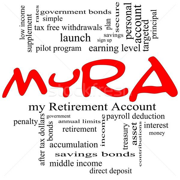 myRA Word Cloud Concept in red caps Stock photo © mybaitshop