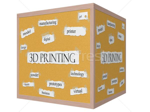 3D nyomtatás kocka szó nagyszerű nyomtató Stock fotó © mybaitshop