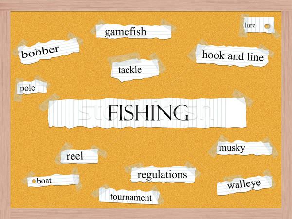 Fishing Corkboard Word Concept Stock photo © mybaitshop