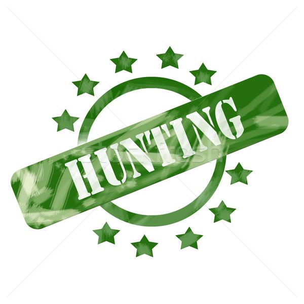 Green Weathered Hunting Stamp Circle and Stars design Stock photo © mybaitshop