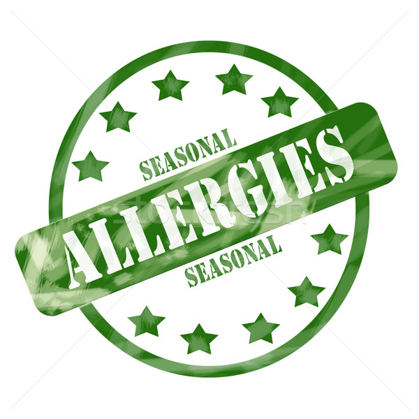 Green Weathered Seasonal Allergies Stamp Circle and Stars Stock photo © mybaitshop