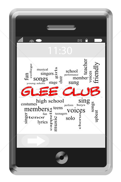 Glee Club Word Cloud Concept on Touchscreen Phone Stock photo © mybaitshop
