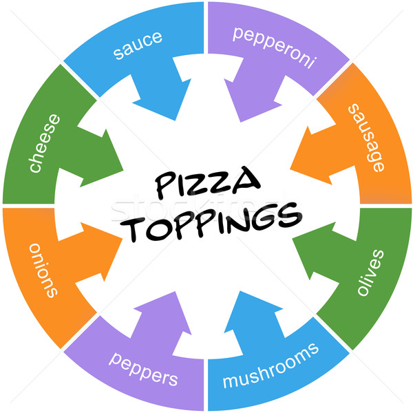 Pizza Toppings Scribbled Word Circle Concept Stock photo © mybaitshop