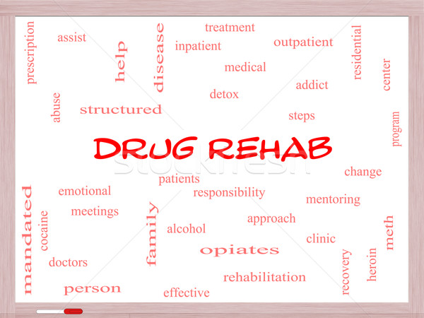 Drug Rehab Word Cloud Concept on a Whiteboard Stock photo © mybaitshop