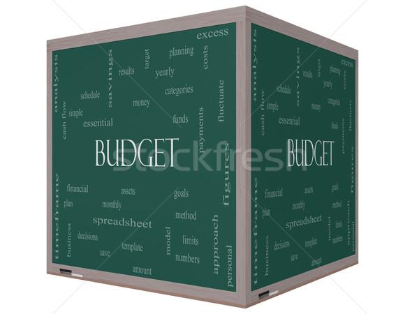 Stock fotó: Költségvetés · szófelhő · 3D · kocka · iskolatábla · nagyszerű