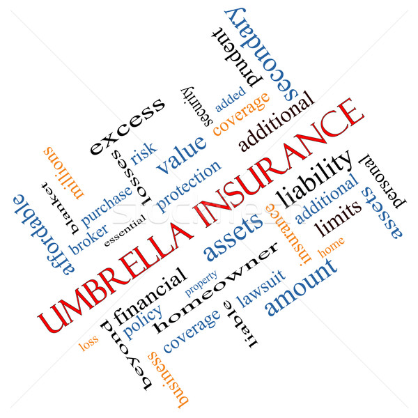 Umbrella Insurance Word Cloud Concept Angled Stock photo © mybaitshop