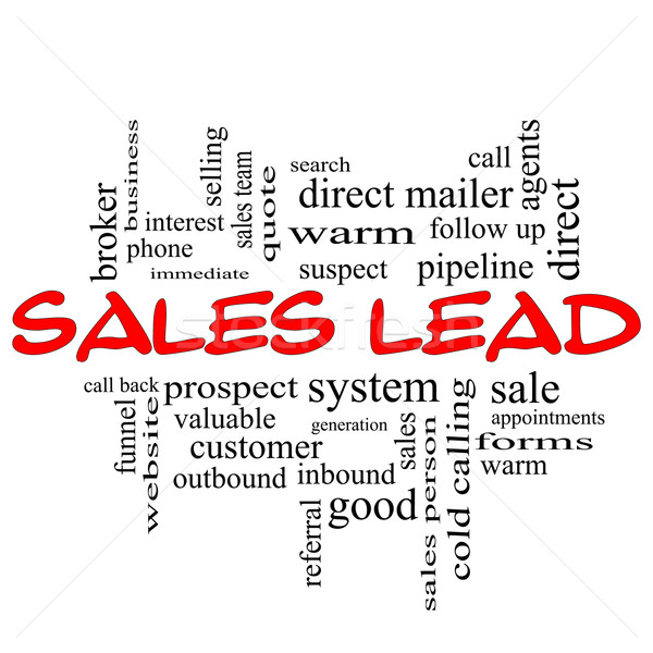 Sales Lead Word Cloud Concept in red caps Stock photo © mybaitshop