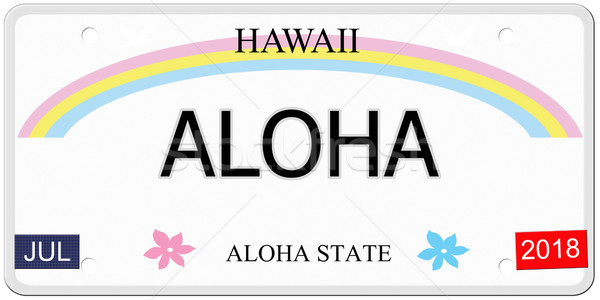 Aloha Hawaii rendszámtábla írott utánzás készít Stock fotó © mybaitshop