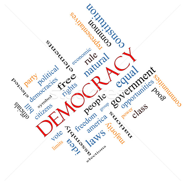 Democracy Word Cloud Concept Angled Stock photo © mybaitshop