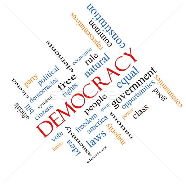Demokrasi kelime bulutu muhteşem insanlar oy Stok fotoğraf © mybaitshop