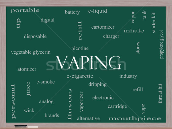 Vaping Word Cloud Concept on a Blackboard Stock photo © mybaitshop
