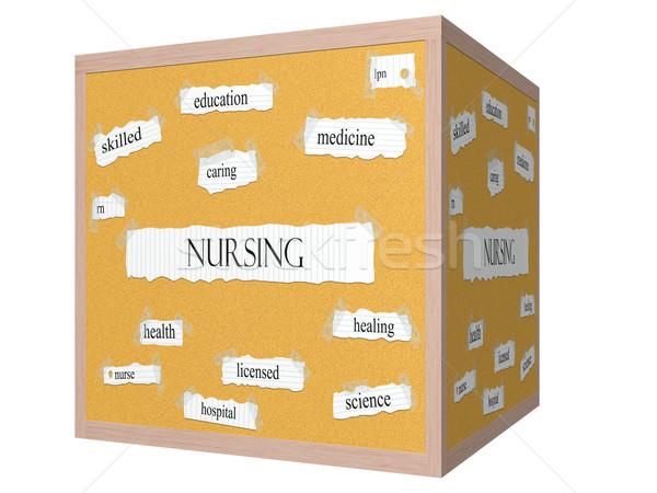 Nursing 3D cube Corkboard Word Concept Stock photo © mybaitshop