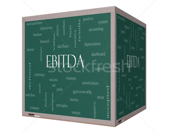 Stock photo: EBITDA Word Cloud Concept on a 3D cube Blackboard