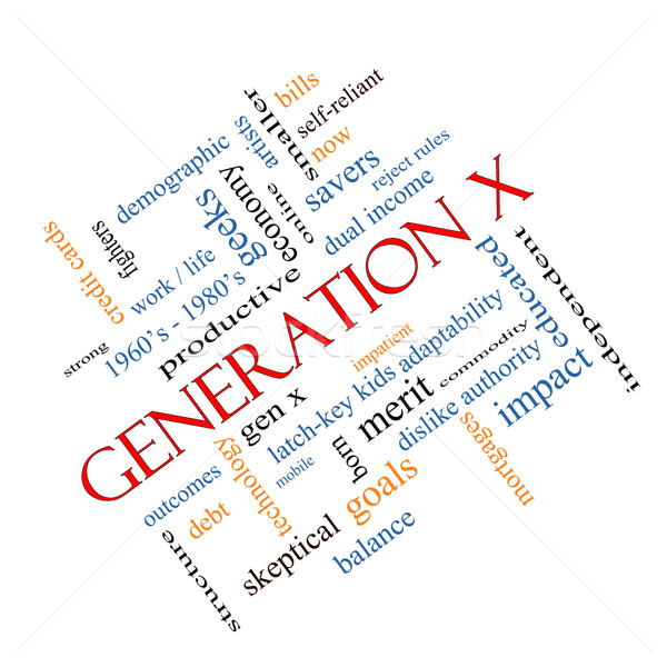 Generation X Word Cloud Concept angled Stock photo © mybaitshop