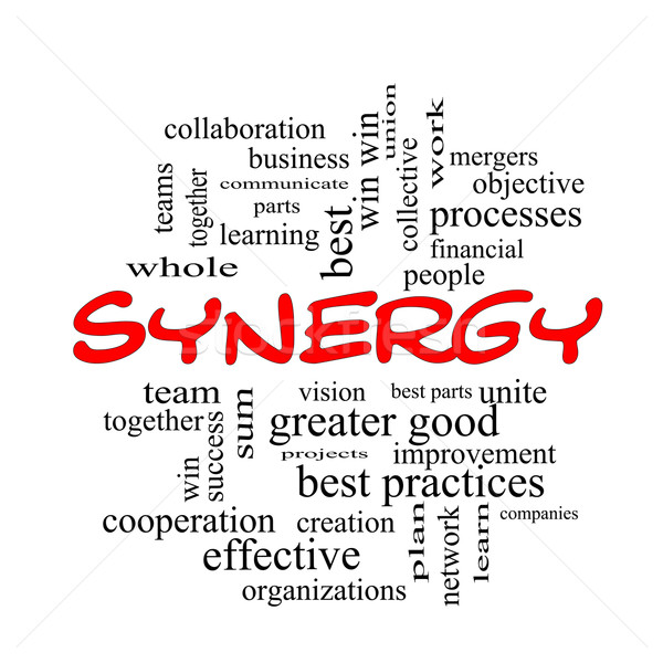 Synergy Word Cloud Concept in red caps Stock photo © mybaitshop