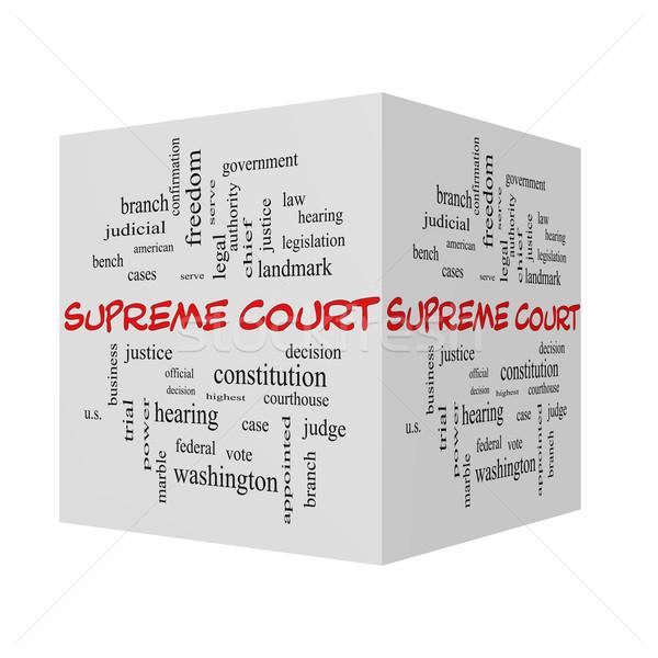 裁判所 3D 言葉の雲 赤 連邦政府の ストックフォト © mybaitshop