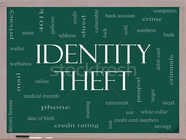 Identity Theft Word Cloud Concept on a Blackboard Stock photo © mybaitshop