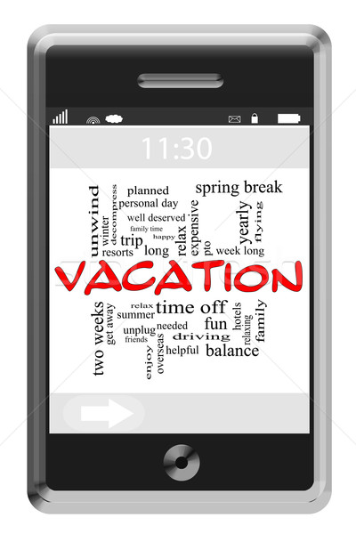 Vacation Word Cloud Concept on Touchscreen Phone Stock photo © mybaitshop