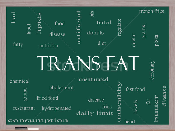 Trans Fat Word Cloud Concept on a Blackboard Stock photo © mybaitshop