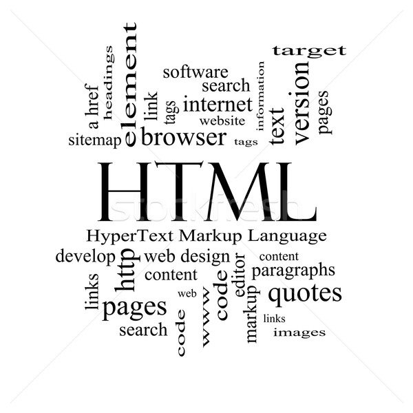 HTML Word Cloud Concept in black and white Stock photo © mybaitshop
