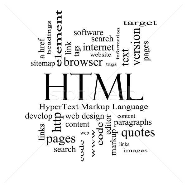 Html szófelhő feketefehér nagyszerű szöveg nyelv Stock fotó © mybaitshop
