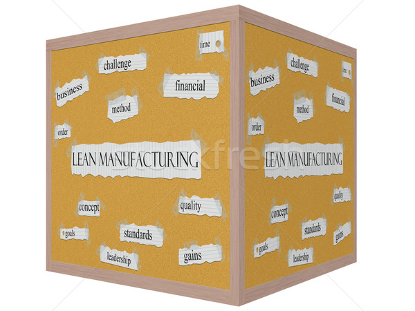 Lean Manufacturing 3D cube Corkboard Word Concept Stock photo © mybaitshop