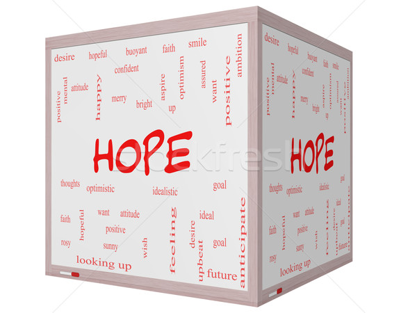 Hope Word Cloud Concept on a 3D cube Whiteboard Stock photo © mybaitshop