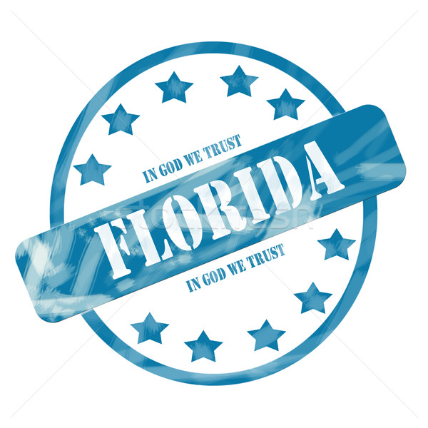 Blue Weathered Florida Stamp Circle and Stars Stock photo © mybaitshop