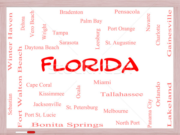 Florida State Word Cloud Concept on a Whiteboard Stock photo © mybaitshop