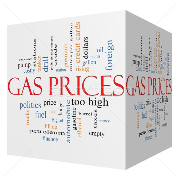 газ цены 3D куб слово облако Сток-фото © mybaitshop