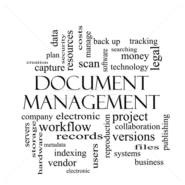 Document Management Word Cloud Concept in black and white Stock photo © mybaitshop