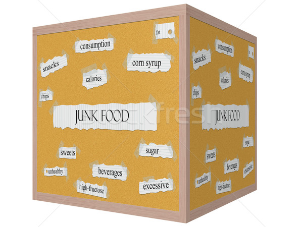 Junk Food 3D cube Corkboard Word Concept Stock photo © mybaitshop
