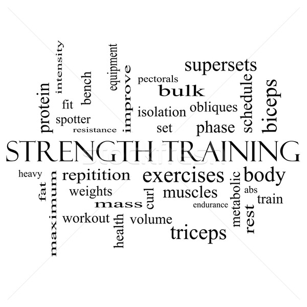 Strength Training Word Cloud Concept in black and white Stock photo © mybaitshop