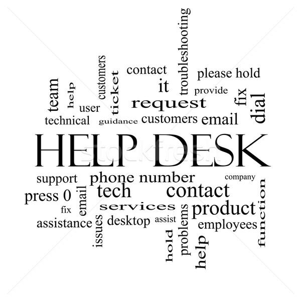 Foto d'archivio: Help · desk · word · cloud · bianco · nero · clienti