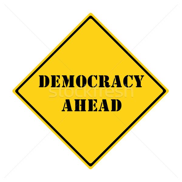 Democracia à frente assinar amarelo preto diamante Foto stock © mybaitshop