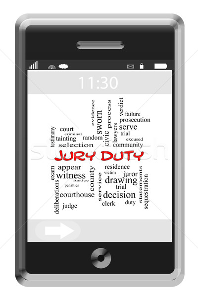 Jury Duty Word Cloud Concept on a Touchscreen Phone Stock photo © mybaitshop