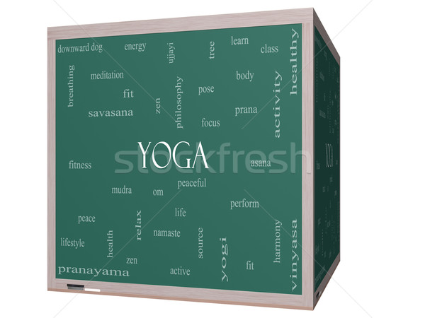 Yoga Word Cloud Concept on a 3D cube Blackboard Stock photo © mybaitshop