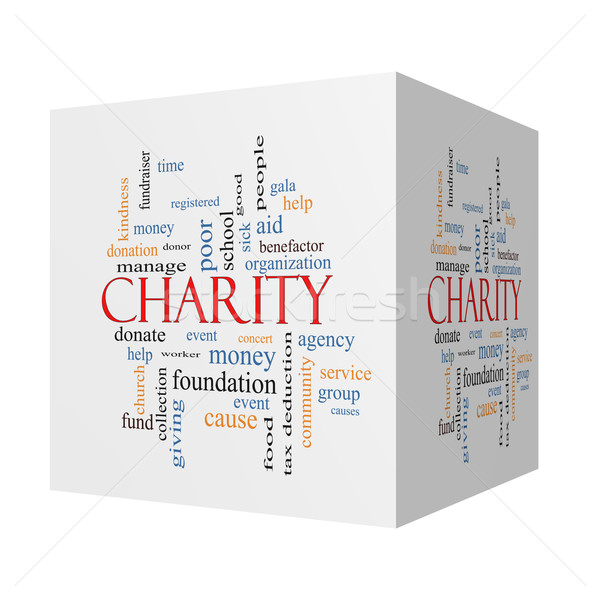 Charity 3D cube Word Cloud Concept  Stock photo © mybaitshop