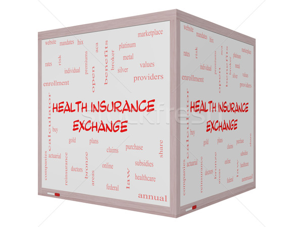 Health Insurance Exchange Word Cloud Concept on a 3D Whiteboard Stock photo © mybaitshop