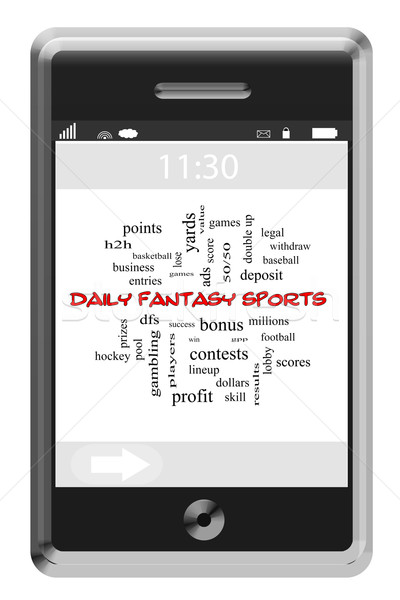 Daily Fantasy Sports Word Cloud Concept on a Touchscreen Phone Stock photo © mybaitshop