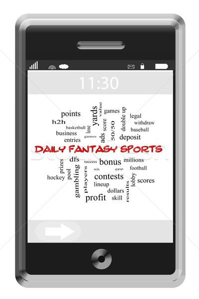 Codziennie fantasy sportowe chmura słowo ekran dotykowy telefonu Zdjęcia stock © mybaitshop