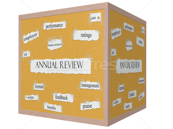 Annual Review on a 3D Cube Corkboard Word Concept Stock photo © mybaitshop